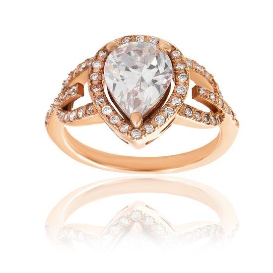 Imagen de Genuine Cubic Zirconia Teardrop Halo Ring in Rose Gold over Sterling Silver