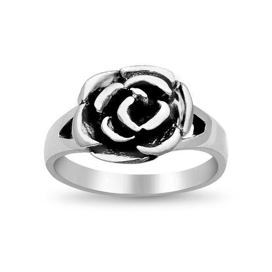 Imagen de Sterling Silver Oxidized Electroform Rose Ring Size 6