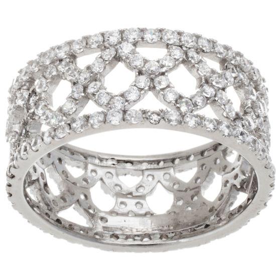 Imagen de Sterling Silver Cubic Zirconia X Design Band Ring Size 6