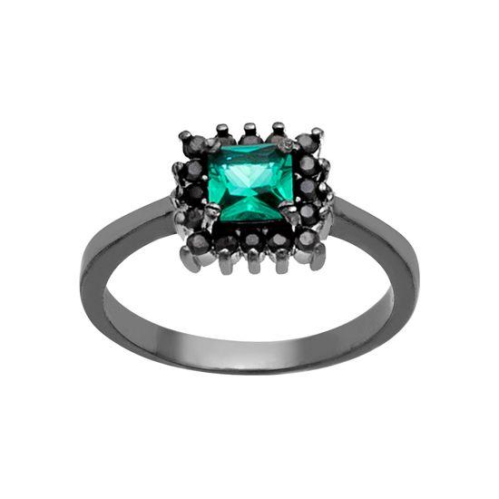 Imagen de Sterling Silver Emerald and Cubic Zirconia Ring