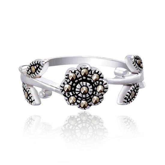 Imagen de Sterling Silver Marcasite Flower Oxidized Ring Size 8