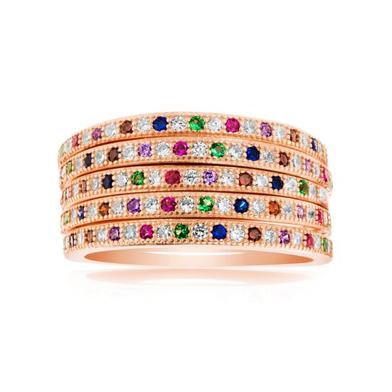 Imagen de Multicolored Cubic Zirconia 5 Piece Stackable Band Ring Set in Rose Gold over Sterling Silver