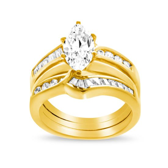 Imagen de Sterling Silver Cubic Zirconia Three Row Marquise Ring Size 8