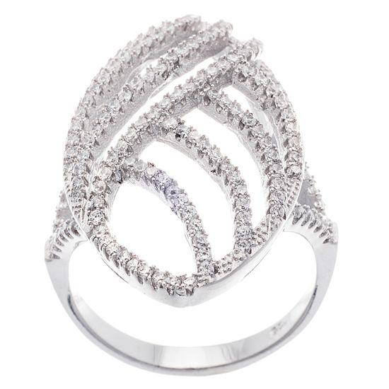 Imagen de Sterling Silver Cubic Zirconia Wavy Marquise Shield Ring 8
