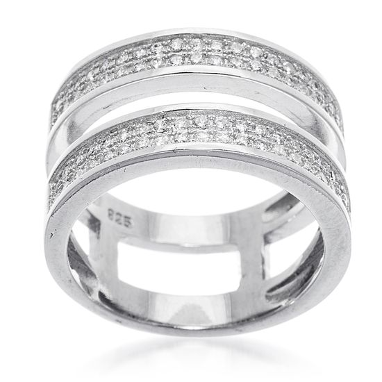 Imagen de Sterling Silver Cubic Zirconia Double Open Cut with Center 2 Row Pave Stripe Band Ring
