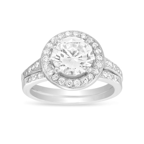 Imagen de Sterling Silver Cubic Zirconia Round 2pc Engagement Ring Set Size 8