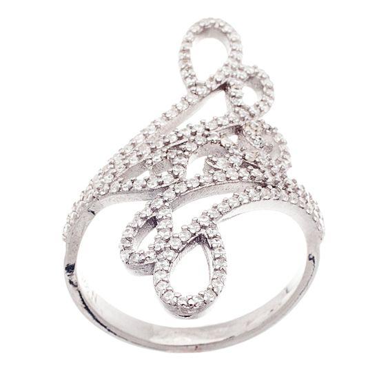 Imagen de Sterling Silver Cubic Zirconia Swirl Design Ring Size 6