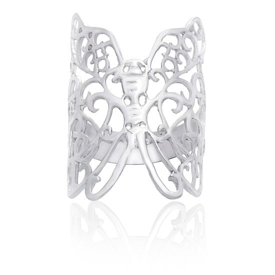 Imagen de Sterling Silver High Polished Butterfly Ring Size 7