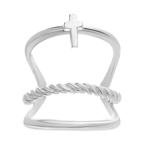 Imagen de E-Coat Sterling Silver Triple Row Cross/Rope Design Ring Size 7