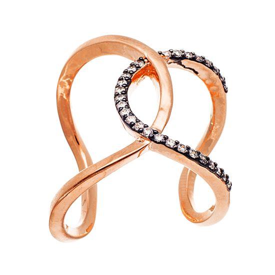 Imagen de Two-Tone Sterling Silver Cubic Zirconia Interlocked Loop Open Work Cuff Ring Size 8