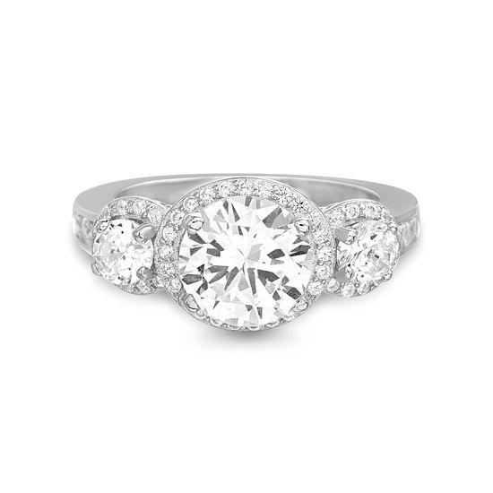 Imagen de Sterling Silver Round Trio Cubic Zirconia Halo Engagement Ring Size 7