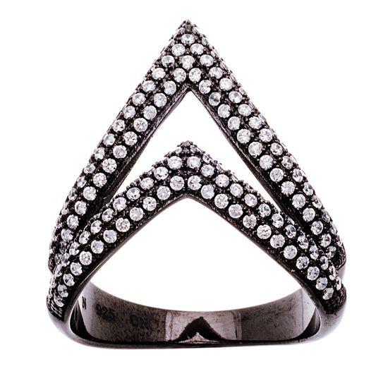 Imagen de Black Ion Double Cubic Zirconia Triangle Black Ion Ring