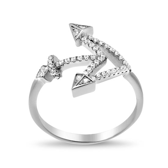 Imagen de Sterling Silver Cubic Zirconia Pointy Anchor Ring Size 6
