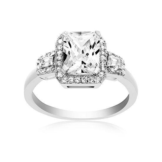 Imagen de Sterling Silver Octagon Center Cubic Zirconia Engagment Ring
