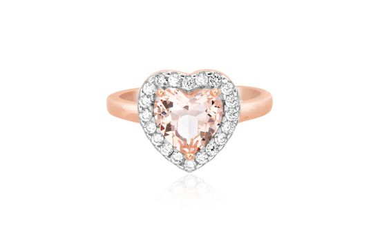 Imagen de Lab Created Simulated Morganite Glass/Clear Cubic Zirconia Heart Halo Ring in Two-Tone Sterling Silver