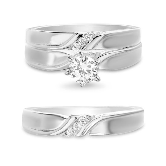 Imagen de Sterling Silver Cubic Zirconia Center Design Wedding  Trio Ring Set Size 7