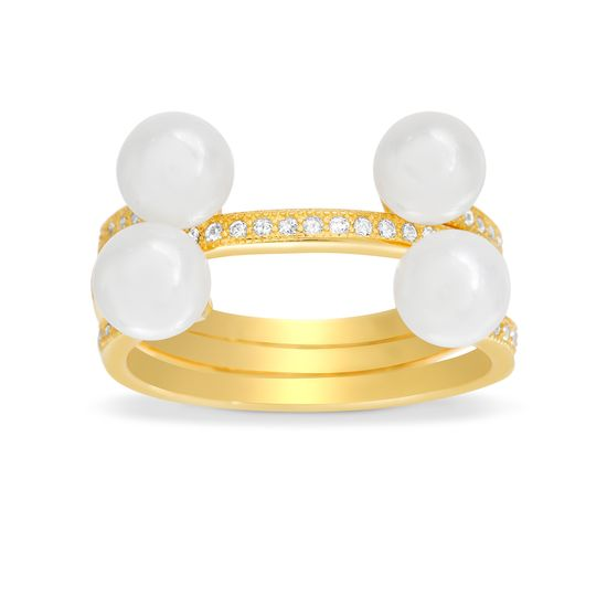 Imagen de 3PC Cubic Zirconia Ring Set with Fresh Water Pearls