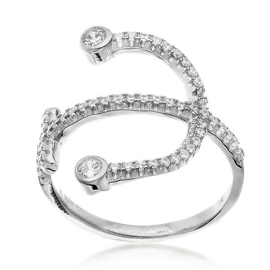 Imagen de Cubic Zirconia Anchor Ring in Sterling Silver