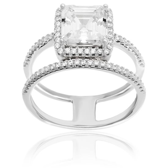 Imagen de Sterling Silver Square Center/Round Border Cubic Zirconia Double Strand Ring Size 7