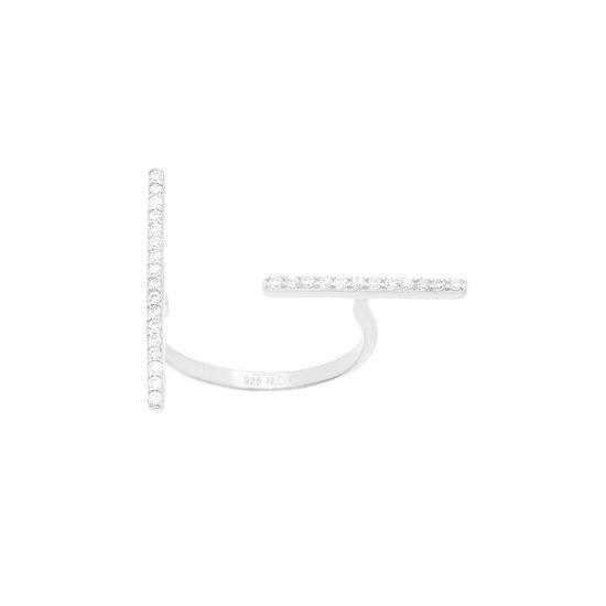 Imagen de Sterling Silver Cubic Zirconia Bar Open Ring Size 6