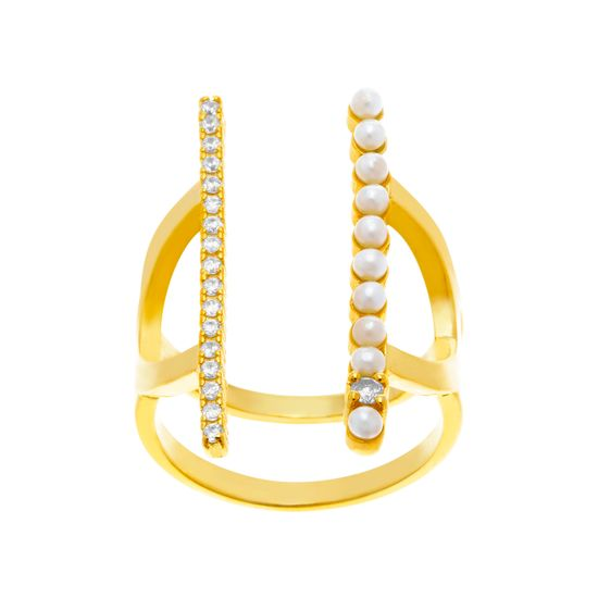 Imagen de Sterling Silver Cubic Zirconia and Freshwater Pearl Double Bar Open Ring