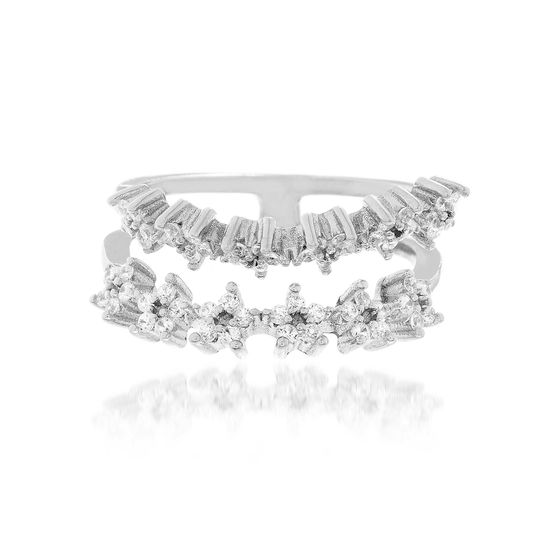 Imagen de Cubic Zirconia Double Strand Star Ring in sterling