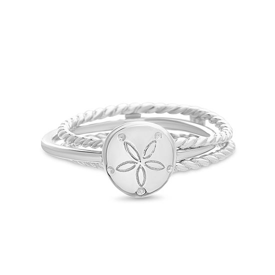 Imagen de E-Coat Sterling Silver Sand Dollar 3 Strand Double Rope and Polished Design Band Ring Size 10