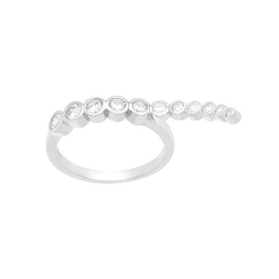 Imagen de Sterling Silver Cubic Zirconia Wavy Ring Size 6