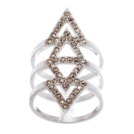 Imagen de Sterling Silver Marcasite Open Triangle Ring