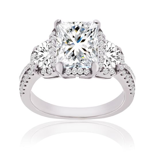 Imagen de Cubic Zirconia 3-Stone Halo Engagement Ring in Sterling Silver