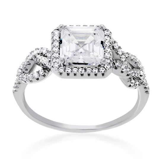 Imagen de Cubic Zirconia Princess Cut Engagement Ring Set in Sterling Silver
