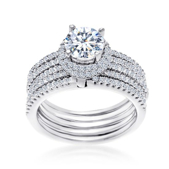 Imagen de Cubic Zirconia 5 Band Bridal Set Ring in Rhodium over Sterling Silver  Size 8