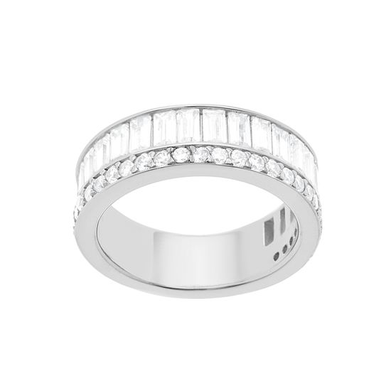Imagen de Sterling Silver Cubic Zirconia Crystal Bar Design Ring Size 8