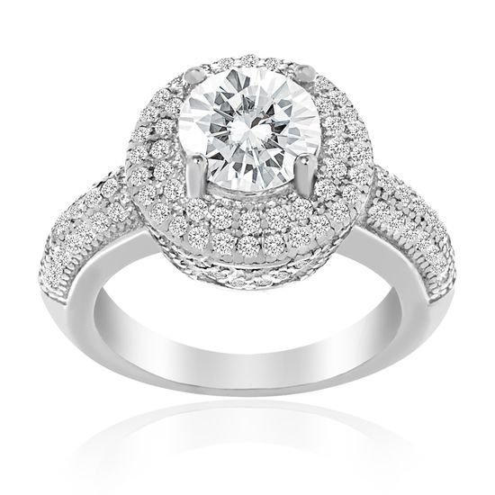 Imagen de Round Halo Engagement Ring in Sterling Silver