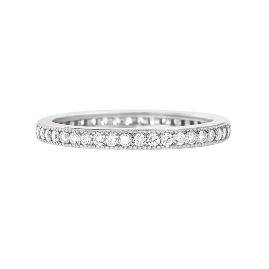Imagen de Sterling Silver Cubic Zirconia Eternity Band Ring Size 7