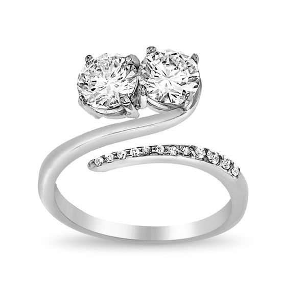 Imagen de 2-Stone Cubic Zirconia Bypass Ring in Sterling Silver