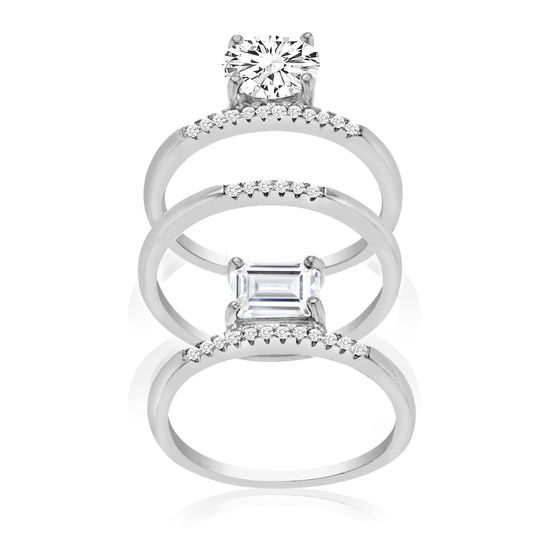 Imagen de Sterling Silver Round/Rectangle Cubic Zirconia 3pc Stackable Ring Set Size 7