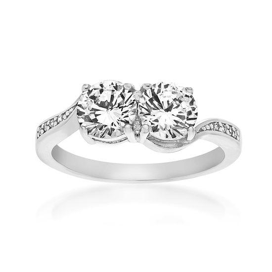 Imagen de 2-Stone Cubic Zirconia Ring in Sterling Silver