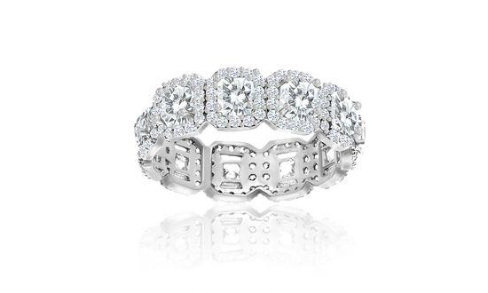Imagen de Sterling Silver Cubic Zirconia Princess Cut Engagement Ring Size 7