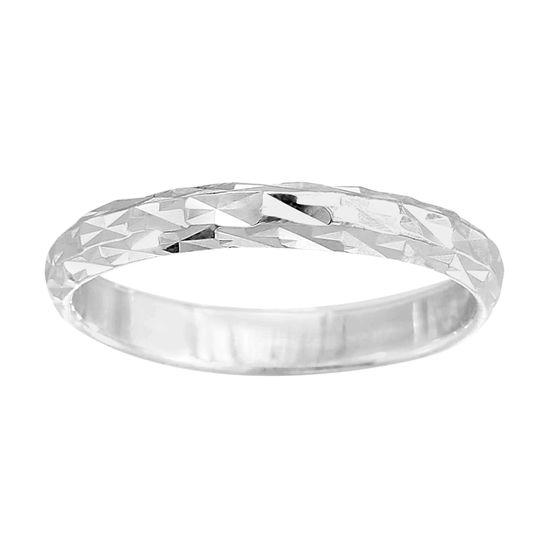 Imagen de E-Coat Sterling Silver Diamond Cut Texture Band Ring Size 7