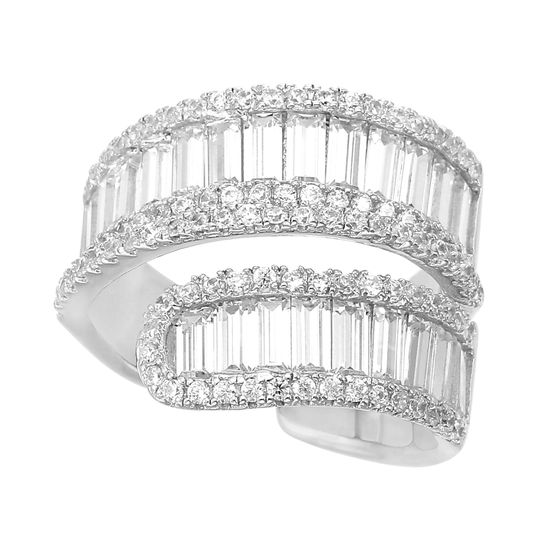 Imagen de Sterling Silver Cubic Zirconia Double Baguette with Center Pave Row Open Cuff Bypass Ring Size 7