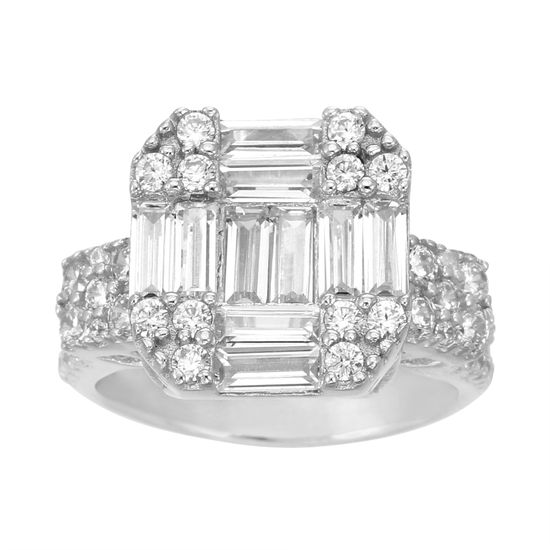 Imagen de Sterling Silver Cubic Zirconia Asscher Cut with Baguettes and Square Sides with Split Rows Ring Size 6