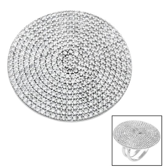 Imagen de Sterling Silver Pave Cubic Zirconia Disc Ring