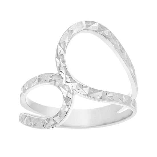 Imagen de Sterling Silver Textured Open Works Bypass Ring Size 7