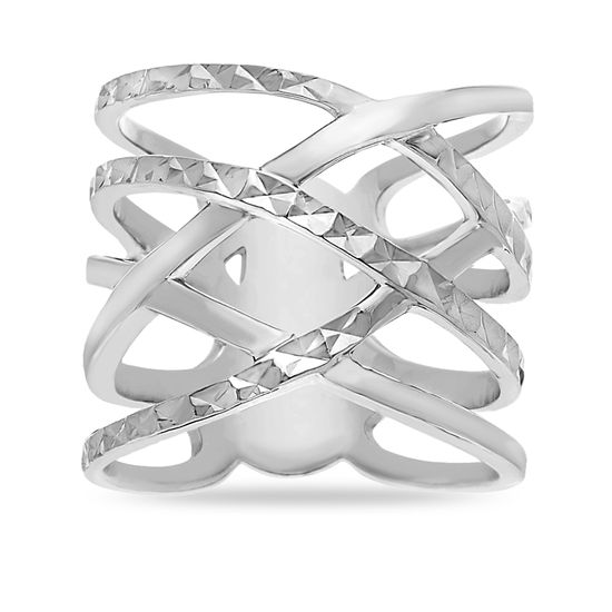 Imagen de Sterling Silver Cubic Zirconia Crossover Design Ring Size 7