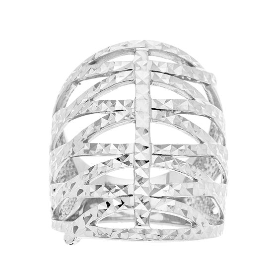 Imagen de Sterling Silver Crossover Hammered Design Ring Size 8