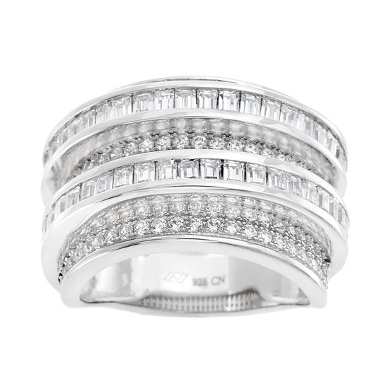 Imagen de Cubic Zirconia Round Border and Baguette Center Eternity Band in Rhodium over Sterling Silver Size 8