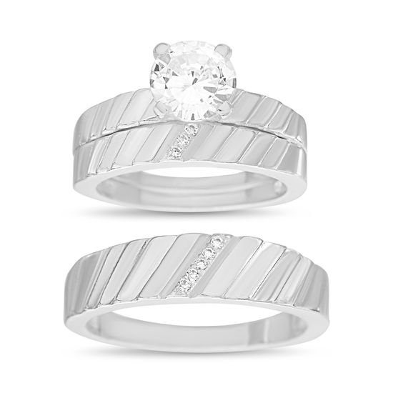 Imagen de Sterling Silver Cubic Zirconia 3 Piece Multiple Diagonal Stripe Design with 4 Prong Center Wedding Band Rings Size 8