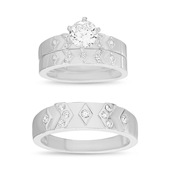Imagen de Sterling Silver Cubic Zirconia 3 Piece Diamond and V Design and 6 Prong Circle Center Wedding Band Rings Size 8