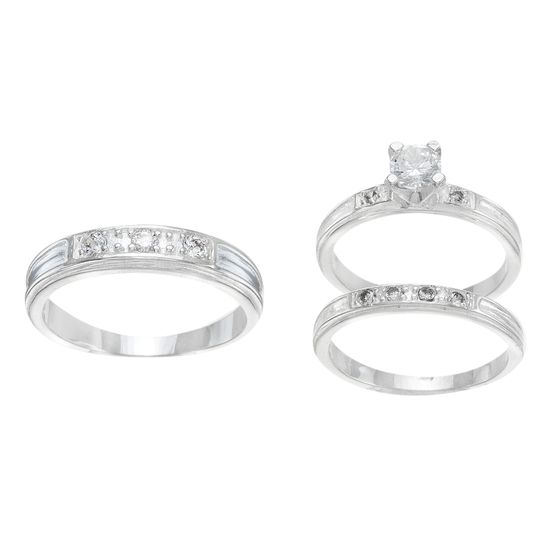 Imagen de Sterling Silver Cubic Zirconia 3 Piece Center Stripe with Bar Pave and 4 Prong Center Circle Wedding Band Rings Size 8